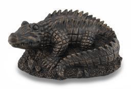 Antiqued Bronze Finish Alligator Statue