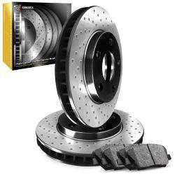 [FRONT] Premium Cross-Drilled Brake Rotors & Ceramic Brake Pads