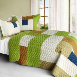 Timeless - A 3PC Cotton Vermicelli-Quilted Patchwork Geometric Quilt Set-Full/Queen Size