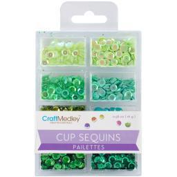 Cup Sequins 7mm .56oz-Go Green GC457-C