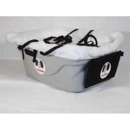 FidoRido FRG2W-MM FidoRido gray two-seater with white fleece and two medium harnesses
