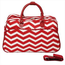 All-Seasons 812014-165R-W 21 in. ZigZag Carry-On Shoulder Tote Duffel Bag, Red Cream