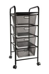 Alvin sc4bm storage cart 4-drawer black mesh