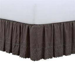 Fresh Ideas FRE30014GREY04 Ruffles 14 in. Bedskirt, Grey - King