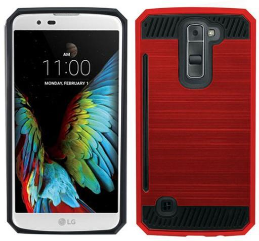 RED RUGGED TPU RUBBER HARD SHELL CASE STAND COVER FOR LG K7 and LG TRIBUTE 5 9F1E1486AB471151
