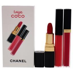 Rouge Coco Set By Chanel For Women - 3 Pc Set 0.19Oz Lip Blush - 416 Teasing Pink, 0.12Oz Ultra Hydrating Lip Color - 482 Rose Malicieux, 0.19Oz Moisturizing Lip Gloss - 806 Rose Tentation