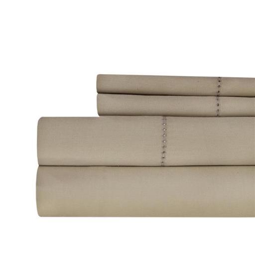 Aspire Linens HEM-500CTN-TAU-QN Hemstitch 500 Thread Count 100 Percent Cotton Sheet Set - Queen - Taupe