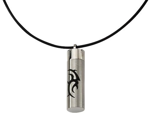 Mens Pendant Necklace with Black Accent in Stainless Steel with Cord