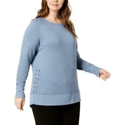 Ideology Women's Top Lace Up Wide Cuff Sweatshirt Blue Size 2 Extra Large