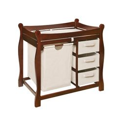 Badger Basket Co Cherry Sleigh Style Changing Table with Hamper/3 Baskets