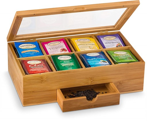 Bamboo Tea Box Teabag Organizer with Small Drawer 100% Natural Bamboo Tea Chest - Great Gift Idea for Valentine's Day