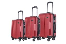 Brio Luggage 3-piece Hardside Spinner Luggage Set - Dark Red