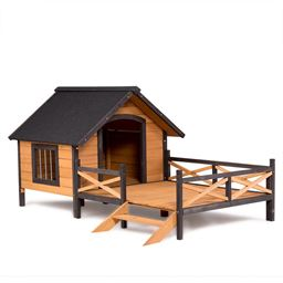 Large Spacious Dog House Kennels with Porch Deck