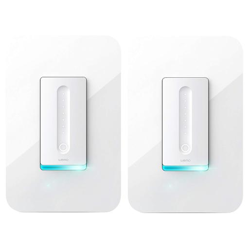 2-Pack Wemo Wireless Dimmer Wifi Light Switch (Works with Google Assistant and Echo Alexa) (White)