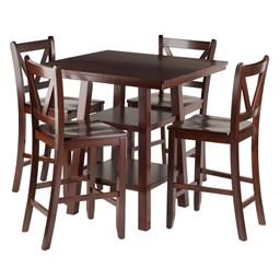 Winsome Orlando 5-Piece Set High Dining Table, 2 Shelves with 4 V-Back Counter Stools