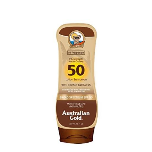 Australian Gold Sunscreen Lotion with Kona Coffee Infused Bronzer, Broad Spectrum, Water Resistant, SPF 50, 8 Ounce