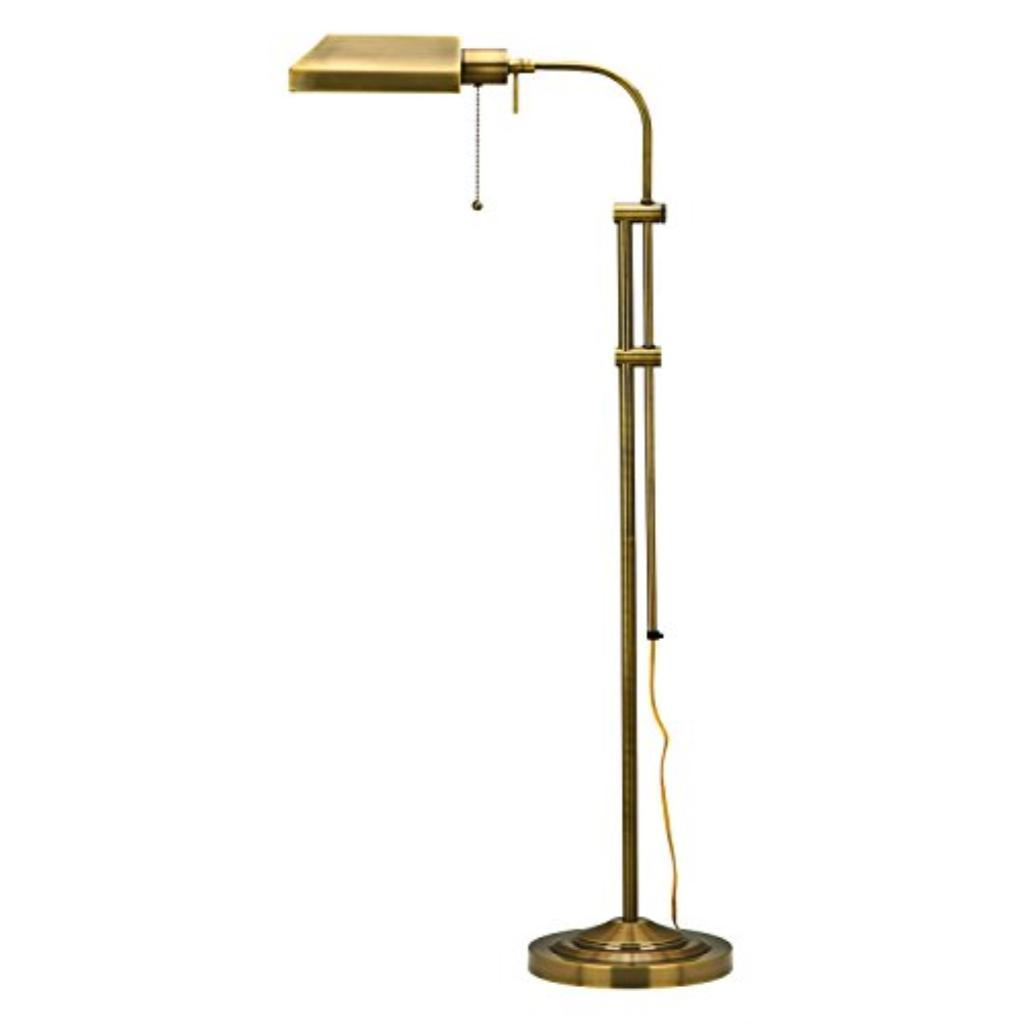 Antique Brass 100 Watt 57.5in. Metal Pharmacy Floor Lamp with Adjustable Pole, On/Off Switch and Metal Shade
