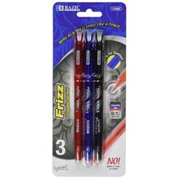 BAZIC Frizz Assorted Color Erasable Gel Pen with Grip, 3 Pack (17065-24)