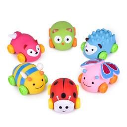 Car Toys for Kids, 6 PCs Push and Go Toddler Animal Toy Cars, Soft Die-Cast Vehicle Birthday Gifts, Stocking Stuffers, Baby Part