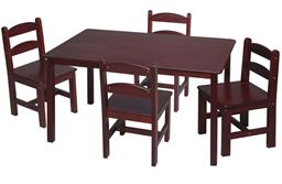 Gift Mark Childern's Rectangle Square Table with 4 Chairs - Cherry