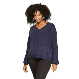 Isabel Maternity by Ingrid & Isabel Textured Chenille Pullover Sweater X-Small Navy Blue