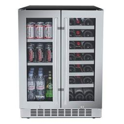 [Limited Time Deal] 24 inch 60 Cans and 21 Bottles Built-in Dual Zone Wine Cooler and Beverage Cooler, Roller Glide Wooden Shelves, Memory Temp Function, Door-Left-Open Alarm&High Temp Alarm