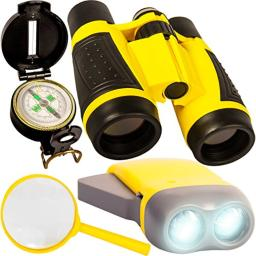 Outdoor Adventure Kit for Kids - Binoculars, Compass, Flashlight, Magnifying Glass. Young Children Explorer Camping Toy Set. Fun Backyard Nature Exploration Toys for Boys and Girls Ages 3 to 10