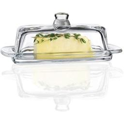 """Circleware 66727 Glass Butter Lid, Multi-Purpose Food Preserving Serving Dessert Dish Tray Home & Kitchen Entertainment Glassware for Cream Cheese, Cake, Candy, Best Gifts, 7.7""""x3.7, Clear"""