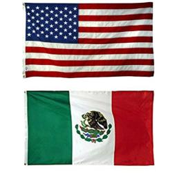 AES Wholesale Combo USA American & Mexico Mexican 3'x5' Polyester Flags