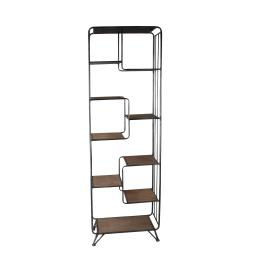 Metal and Wood Accent Rack with 9 Spacious Shelves, Black and Brown