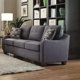 Contemporary Linen Upholstered Wooden Sofa with Two Pillows, Gray