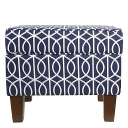Wooden Ottoman with Trellis Patterned Fabric Upholstery and Hidden Storage, Blue and White