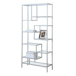 """Offex 72""""H Contemporary Silver Metal Tempered Glass Backless Bookcase, Clear"""