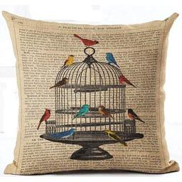 Lacanu Cotton Linen Retro Book Page Illustration Black Sketch Birdcage and Colorful Birds Pillow Covers Cushion Cover Decorative Sofa Bedroom Square 18 inches i
