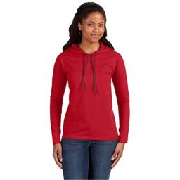 Anvil Lightweight Long-Sleeve Hooded T-Shirt (887L) Red/Dark Grey, M