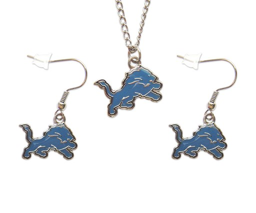 NFL Detroit Lions Sports Team Logo Necklace and Dangle Earring Charm Set