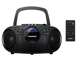 Koramzi Portable CD Boombox Full Range Stereo Sound System w/ Top-Loading MP3 CD Player, Cassette Player and Recorder, AM/FM Radio, USB Input, Headphone & AUX Jack w/ Remote Control- CD705CBK(Black) CD705CBK