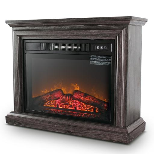 DELLA Freestanding Electric Fireplace Wood Burning Portable Stove Heater with Remote Controller, Brown