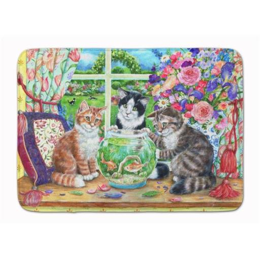 Carolines Treasures CDCO0325RUG Cats Just Looking in the Fish Bowl Machine Washable Memory Foam Mat