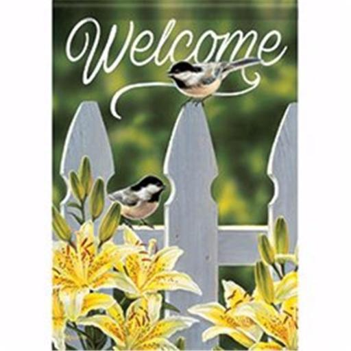 Carson Home Accents 171607 12.5 x 18 in. Chickadee Garden Gate Garden Flag