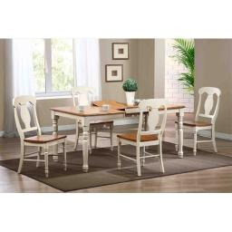 Iconic Furniture Rectangle Dining Table, Turned Leg In Caramel & Biscotti