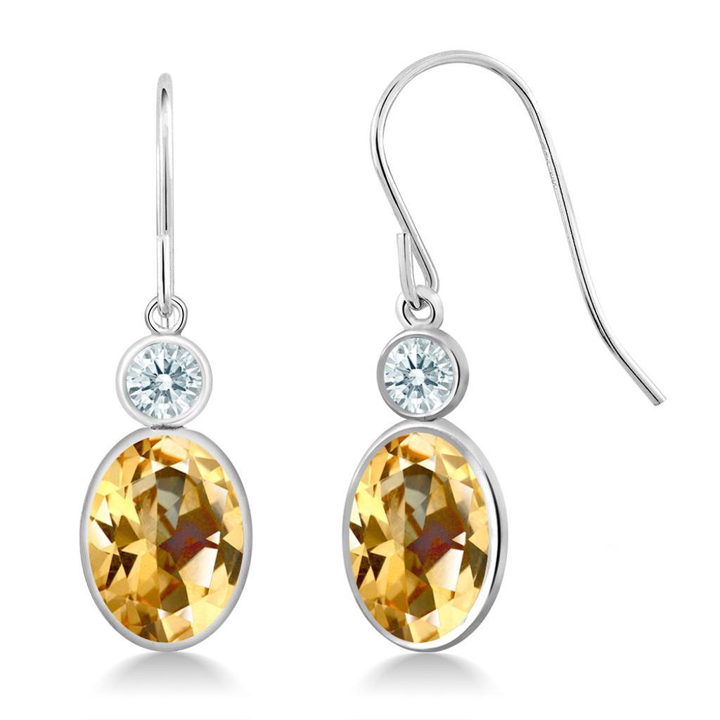 14K White Gold Earrings Set with Oval Honey Topaz from Swarovski
