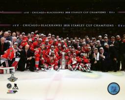 The Chicago Blackhawks celebrate winning Game 6 of the 2015 Stanley Cup Finals Photo Print PFSAASB14301