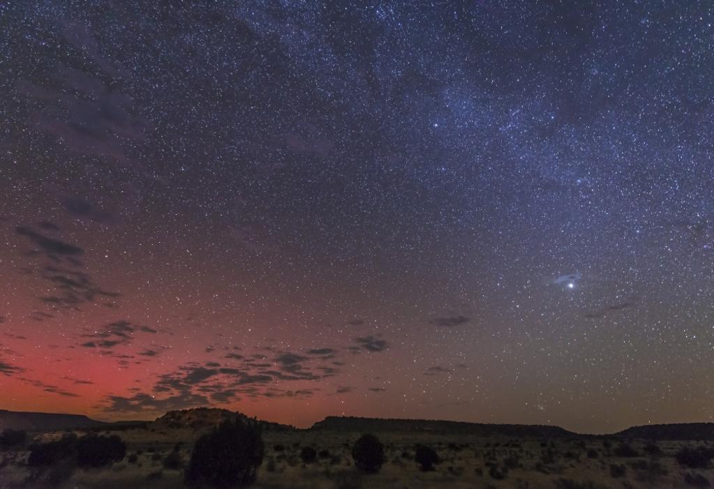 A rare aurora display over Black Mesa, Okalahoma, USA Poster Print
