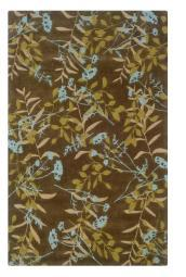 Linon Trio Collection Chocolate & Spa Blue 5' x 7'