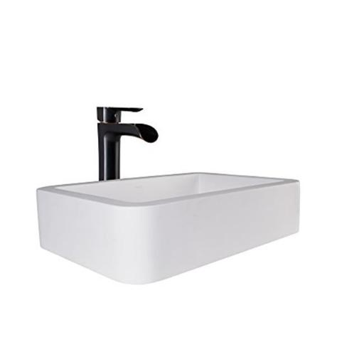 Navagio Matte Stone Vessel Sink & Niko Faucet Set with Pop-up Drain, Antique Rubbed Bronze & Matte White