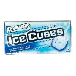 Ice Breakers 34000 70002 Peppermint Sugar Free Ice Cubes Gum- 10 Piece per Pack - pack of 8