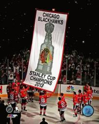 The Chicago Blackhawks raise their 2013 Stanley Cup Championship Banner Photo Print PFSAAQG07601