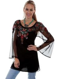 Scully Western Shirt Womens Embroidered Long Sheer Sleeves HC327 HC327