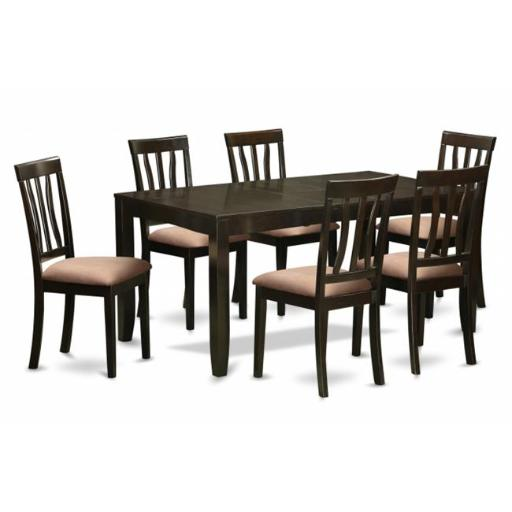 East West Furniture LYAN7-CAP-C 7 Piece Formal Dining Room Set-Kitchen Tables With Leaf 6 Dining Chairs